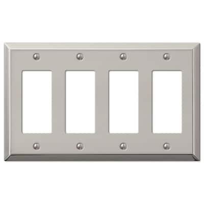Metallic 4 Gang Rocker Steel Wall Plate - Polished Nickel