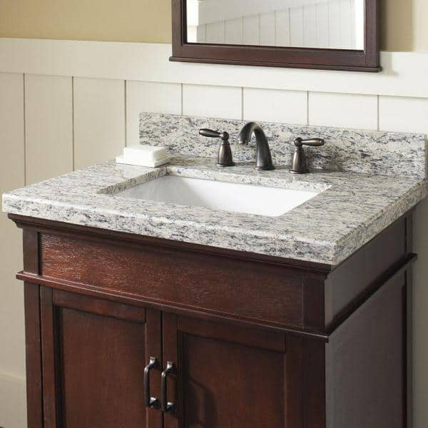 Home Decorators Collection 31 In W X 22 In D Granite Vanity Top In Santa Cecilia With White Trough Sink 31885 The Home Depot