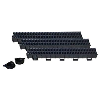 Deep Black 5.4 in. W x 5.4 in. D x 39.4 in. L Trench and Channel Drain Kit (6-Pack)