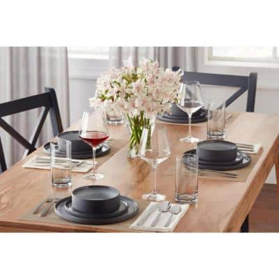 Pierce 16-Piece Charcoal and Shadow Gray Contrast Stoneware Dinnerware Set (Service for 4)