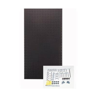 24 in. H x 42 in. W Pegboard 1-Pack Black High-Density Fiberboard Kit with 36 Hooks