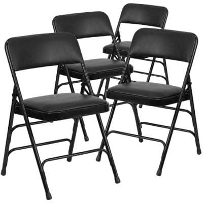 Black Vinyl/Black Frame Metal Folding Chair (4-Pack)