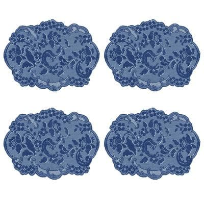 Elizabeth 19 in. x 14 in. Blues Polyester Placemats (Set of 4)