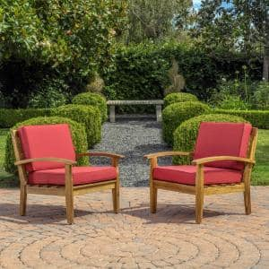 Caldwell Teak Slatted Wood Outdoor Lounge Chairs with Red Cushions (2-Pack)