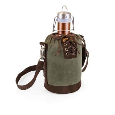 Khaki Green and Brown Insulated Growler Tote with 64 oz. Copper Stainless Steel Growler