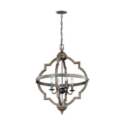 Socorro 20.875 in. W. 4-Light Weathered Gray and Distressed Oak Hall-Foyer Pendant