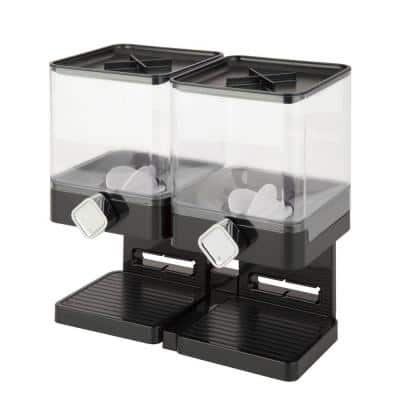 Double Cereal Dispenser with Portion Control, Black