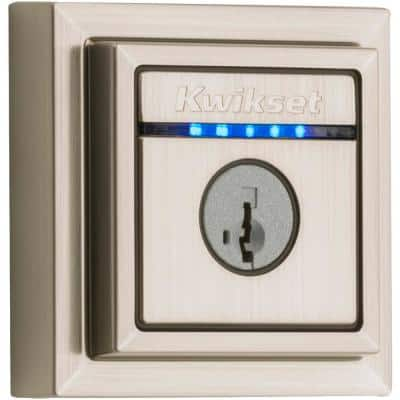 Kevo 2nd Gen Contemporary Square Satin Nickel Single Cylinder Touch-to-Open Bluetooth Smart Lock Deadbolt