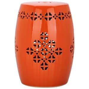Quatrefoil Orange Ceramic Garden Stool