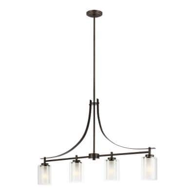 Elmwood Park 4-Light Bronze Island Pendant with Satin Etched Glass Shades with LED Bulbs
