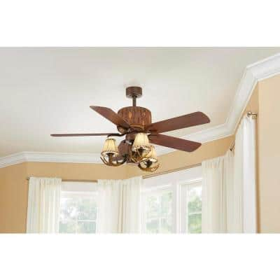 Lodge 52 in. LED Nutmeg Ceiling Fan with Light and Remote Control
