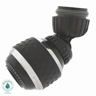 1.2 GPM Soft Grip Water-Saving Swivel Spray Aerator, Black