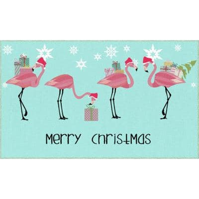 Flamingo Presents Light Blue 2 ft. 6 in. x 4 ft. 2 in. Holiday Area Rug