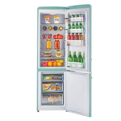 Retro 21.6 in. 9 cu. ft. Bottom Freezer Refrigerator in Ocean Mist Turquoise, ENERGY STAR