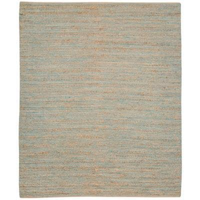 Nathanial Blue 8 ft. x 10 ft. Farmhouse Solid Jute Area Rug