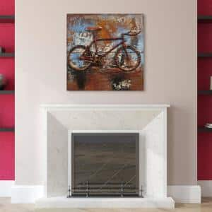 32 in. x 32 in. ''Biking'' Mixed Media Iron Hand Painted Dimensional Wall Art