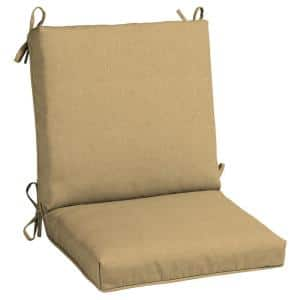 20 in. x 19 in. CushionGuard Outdoor Welted Mid Back Dining Chair Cushion in Khaki (2-Pack)