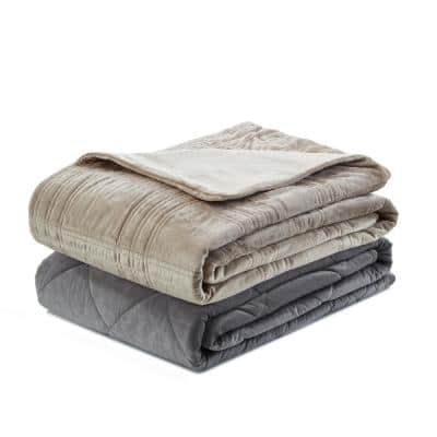 Ekon Taupe 72 in. x 80 in. 20 lb. Weighted Blanket