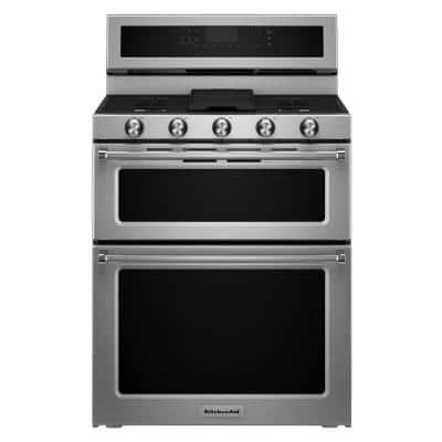 6.7 cu. ft. Double Oven Dual Fuel Gas Range with Self-Cleaning Convection Oven in Stainless Steel