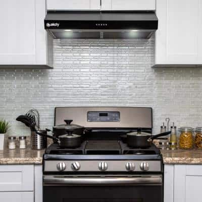 30 in. 217 CFM Under Cabinet Range Hood in Black Painted Stainless Steel with Push Button Control and Carbon Filter