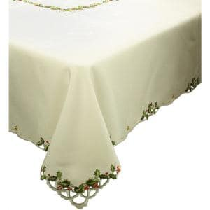 0.1 in. x 65 in. x 118 in. Winter Berry Collection Christmas Tablecloth