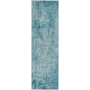 Evoke Blue/Ivory 2 ft. x 9 ft. Runner Rug