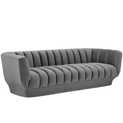 Entertain 88.5 in. Gray Channel Tufted Velvet 4-Seater Tuxedo Sofa with Square Arms