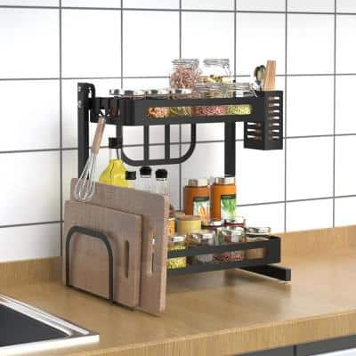 Stainless Steel Black 2 Tier Spices Rack, All in One Kitchen Space Saver