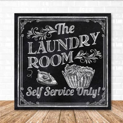 """16 in. x 16 in. """"Laundry room"""" Canvas Printed Wall Art"""