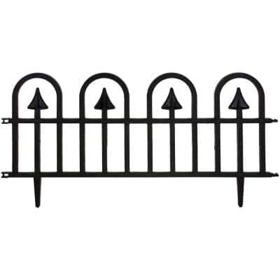 Estate Series 24 in. x 15 in. Plastic Colonial Wrought-Iron Style Border Garden Fencing, 10 ft. Included