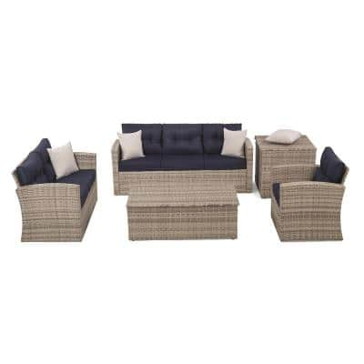 5-Piece Wicker/Rattan Metal Outdoor Patio Sectional Conversation Seating Set with Navy Blue Cushions