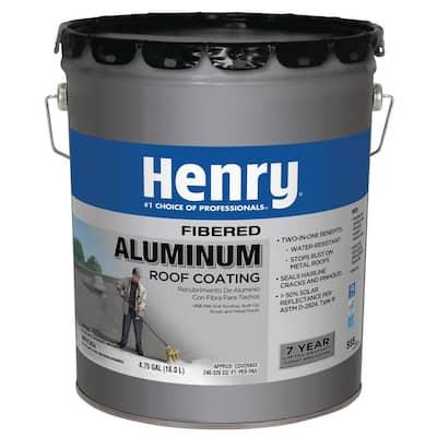 4.75 Gal. 555 Fibered Aluminum Roof Coating (16-Piece)
