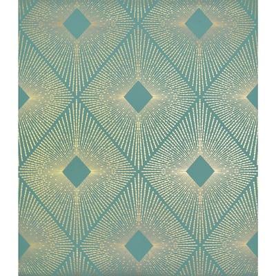 56.9 sq. ft. Teal/Gold Harlowe Wallpaper