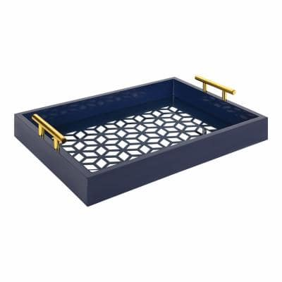 Caspen 17 in. x 3 in. x 12 in. Navy Blue Decorative Wall Shelf