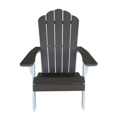 Driftwood with White Accents Outdoor 2-Tone Wood Construction with Durable Faux Adirondack Chair