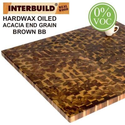 Acacia 3 ft. L x 40 in. D x 1.5 in. T Butcher Block Island Countertop in Brown Wood Oil Stain