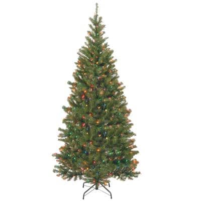 7 ft. Aspen Spruce Hinged Artificial Christmas Tree with 400 Multicolor Lights