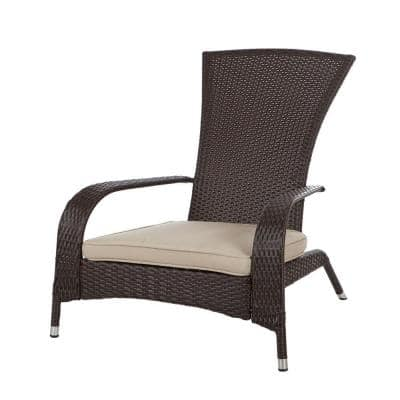 Coconino All-Weather Stationary Wicker Patio Adirondack Lounge Chair with Beige Cushion