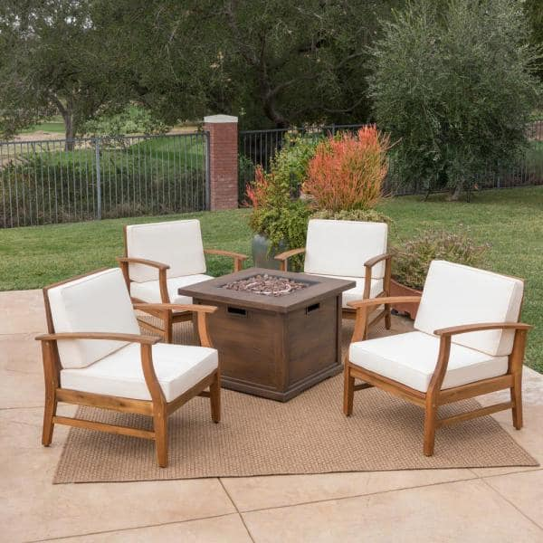 Noble House Havana Teak Brown 5 Piece Wood Patio Fire Pit Set With Cream Cushions 39731 The Home Depot