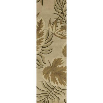 Bernadette Sand 2 ft. x 8 ft. Floral Wool Indoor/Outdoor Area Rug
