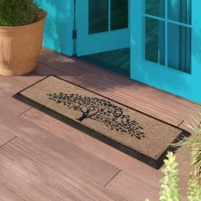 A1HC First Impression Life of Tree Black/Beige 18 in. x 48 in. Rubber and Coir Double Door Mat