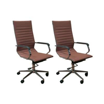 Set of 2 Ergonomic Iron and Leather Height Adjustable High Back Office Chairs w/Armrests, 46.9 Inch Max Height, Brown