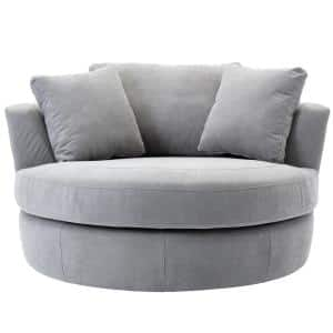 Smoky Grey Elegant Round Swivel Barrel Chair