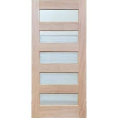 36 in. x 79 in. Unfinished Contemporary 5-Lite Mistlite Mahogany Wood Front Door Slab