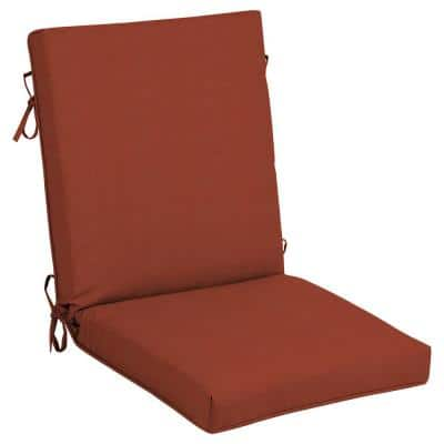 21 in. x 24 in. CushionGuard Quarry Red Outdoor Welted High Back Dining Chair Cushion