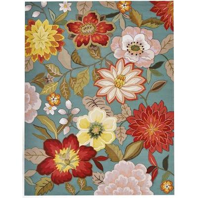 Spring Blossoms Aqua 8 ft. x 11 ft. Floral Contemporary Area Rug