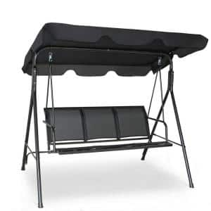 3-Person Black Metal Patio Swing in Black With Polyester Angle Adjustable Canopy