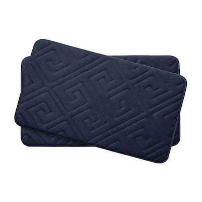 Caicos Indigo 17 in. x 24 in. Memory Foam 2-Piece Bath Mat Set