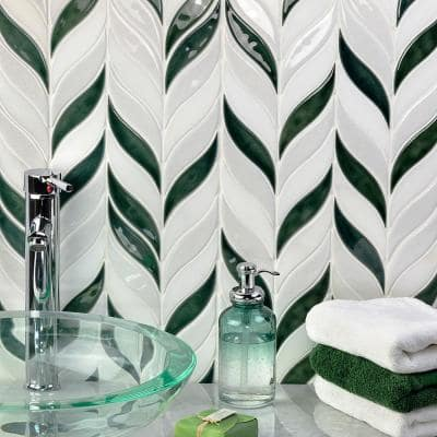 Delphi Sprig Deep Emerald 11.75 in. x 10.5 in. Marble and Ceramic Mosaic Tile (0.86 sq. ft./Sheet)