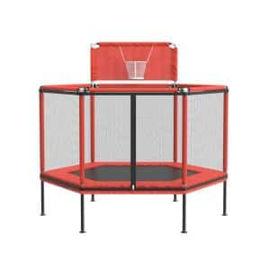 60 in. Round Backyard Trampoline with Basketball Hoop and Safety Enclosure Outdoor Indoor Kids Child Playing Jumping